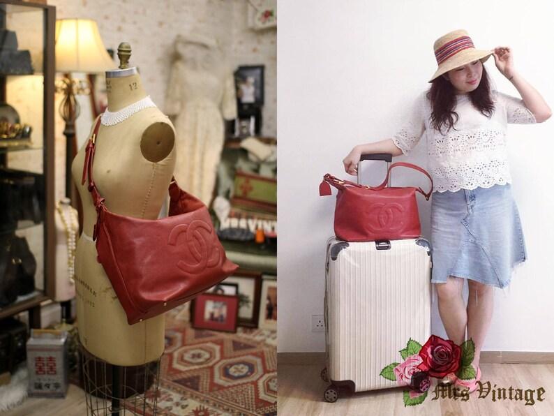 ab81b9b29554 Vintage Chanel Large Red Caviar Shoulder Bag | Etsy