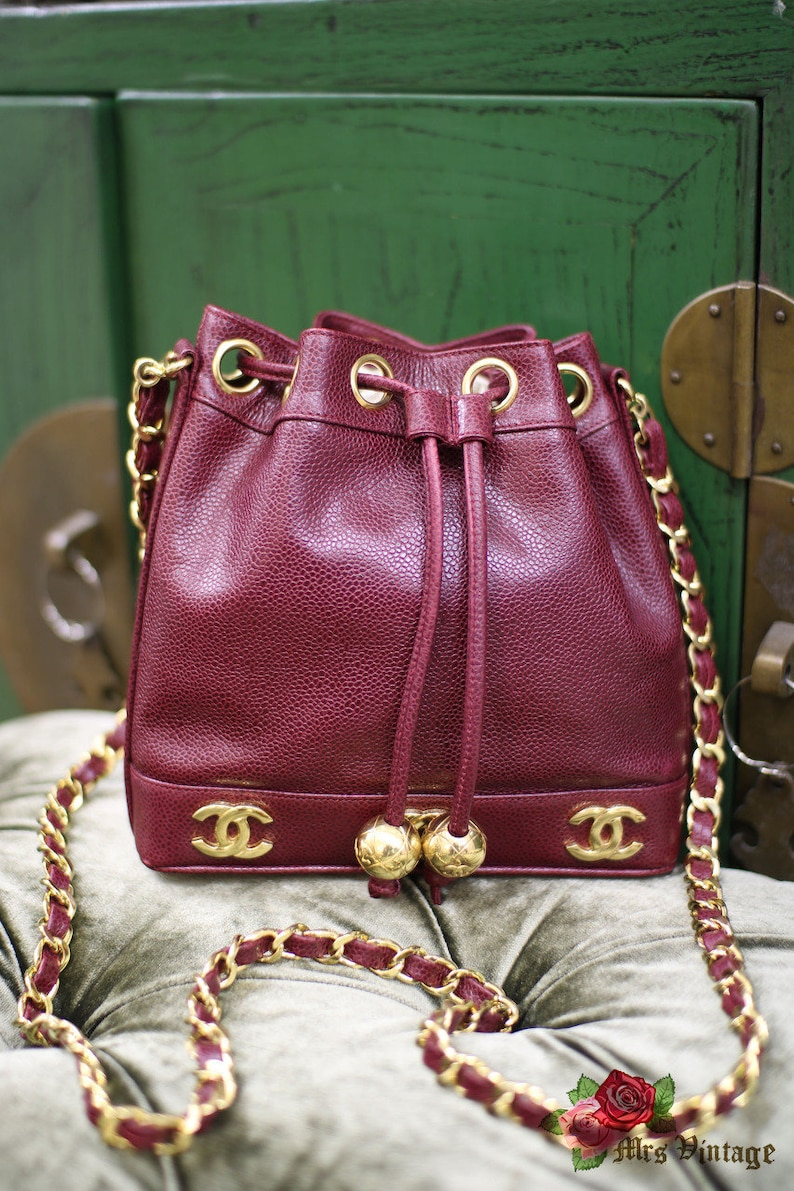 15c17915aa7f Vintage Chanel Raspberry Red Caviar Small Bucket Bag With 2 | Etsy