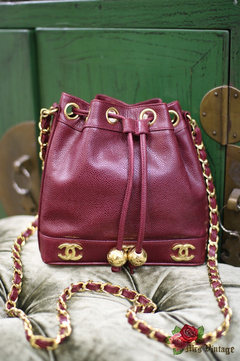 6090fe4afe9528 Vintage Chanel Raspberry Red Caviar Small Bucket Bag With 2 | Etsy