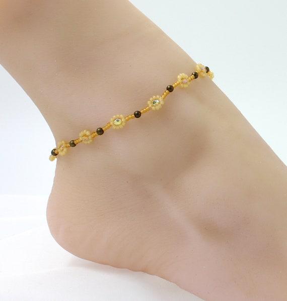 Open Work Heart Daisy Chain Beaded Flower Boho Love Anklet Ankle Bracelet Gift