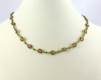 Daisy Chain Necklace - Green Bronze - Seed Bead Jewelry - Earth Tone Necklace - Beaded Necklace - Beadwork Necklace