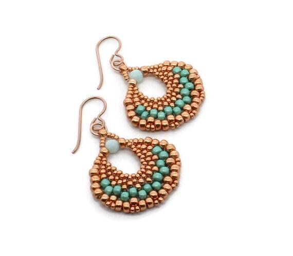 Green Women/'s Earrings Beaded Fan Earrings Seed Bead Jewelry Handmade Jewelry