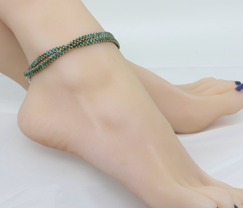Chain Ankle Bracelet Summer Accessories Blue Wrap Anklet Beaded Foot Jewelry