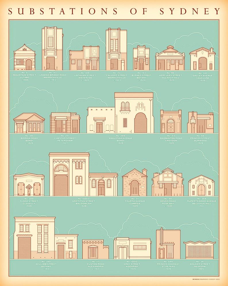 Substations of Sydney retro illustrated print image 0