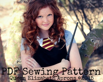 HP Witch Wizard Magic School House inspired Costume Apron Pdf Sewing PATTERN. Girls sizes 9-12 and Teens/ Women 0-12. Birthday Party Cosplay