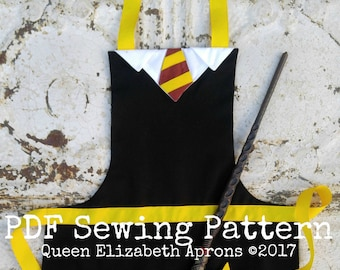 HP Wizard Witch Magic School House Child Halloween Costume Apron Pdf Sewing PATTERN. Boys sizes 2-8. Dress up Play Birthday Party Photo prop