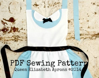 ALICE in Wonderland Halloween Princess Child Costume Apron PDF sewing PATTERN. Girls sizes 2-8 Dress up Birthday Tea Party Onederland play