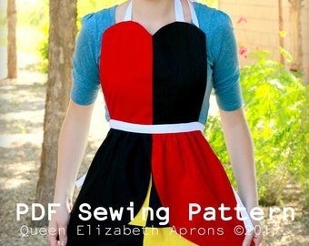 QUEEN of HEARTS Alice in Wonderland Princess Halloween Costume Apron PDF Sewing pattern. Girls size 2-8 Tea Party Dress up Toddler outfit
