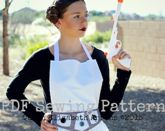 STAR WARS Princess LEIA Costume Halloween Apron pdf Sewing Pattern. Girls size 9-12 and Teens/ Women 0-12 Birthday Party Dress up Prop Play