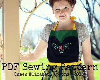 Coronation ANNA Frozen Princess Halloween Costume Apron PDF Sewing PATTERN. Girls size 9-12 and Teens/ Women 0-12 Birthday Party Dress up