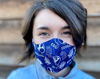 BYU Brigham Young University Face Mask 2 layer Adult Teen Child Kids Unisex Women Men Washable, elastic ear loop Soft Handmade USA Quality