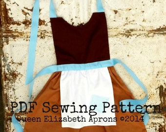 Maid CINDERELLA Princess Child Halloween Costume Apron PDF Sewing PATTERN Sizes 12 months- Girls 8 Birthday Party Dress up Photo Prop Outfit