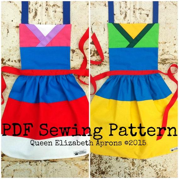 Mulan Disney Princess Inspired Child Costume Apron Pdf Sewing Etsy