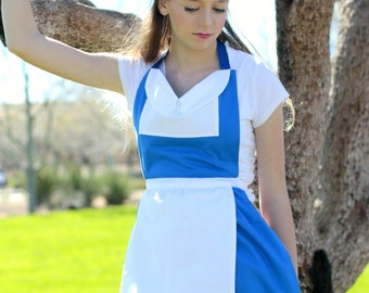 BELLE Beauty and the Beast APRON Disney princess French Provincial Peasant. Teen/ Adult Women sz 0-12 Birthday Blue Dress up Bow