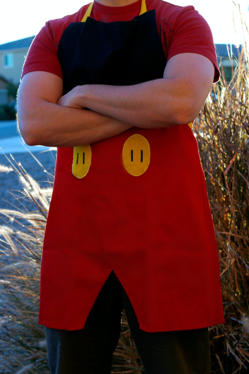 MICKEY MOUSE Disney inspired Costume Apron Fits Adult Men Teens sizes 28-42 Cartoon Birthday Party Prop BBQ Grill Gift Disneyland outfit