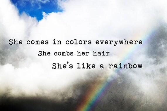 Like a Rainbow - Rolling Stones Mick Jagger art print, photography wall  art, lyrics, photography, hawaii, rainbow, boho, groovy rock