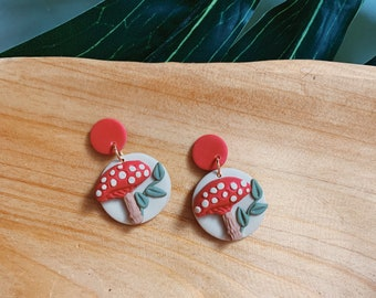 Mushroom Polymer Clay Earrings  // Statement Jewelry