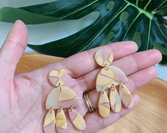 Translucent Peach and Blush Dangle  - Stained Glass Boho Statement Polymer Clay Earrings //