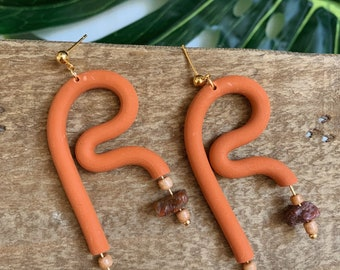 Terracotta Abstract Clay Dangle  - Boho Statement Polymer Clay Earrings //