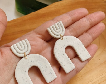 White Arch Earrings - Boho Statement Polymer Clay Earrings //