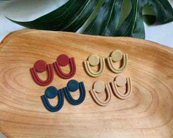 Textured Arch Statement Polymer Clay Earrings  // Jewelry