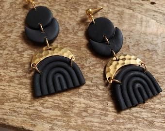 Lunita Dangle Earrings - Boho Statement Polymer Clay Earrings //