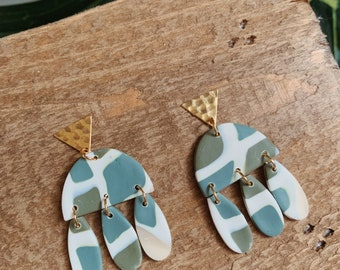 Teal and Olive Dangle  - Boho Statement Polymer Clay Earrings //