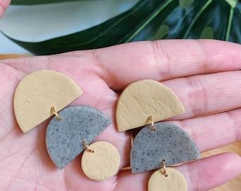 Minimalist Textured Dangle  - Boho Statement Polymer Clay Earrings //