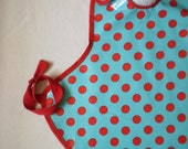 SALE--Art Smock in Aqua & Red Dot--Size 2T-5T--Designer Michael Miller Fabrics--CPSIA Compliant--Ready to Ship