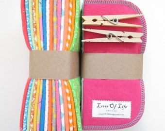 Reusable Cloth Wipes Pack of 32--2 Ply Flannel--Regular--Assorted Girls Mix--Made to Order