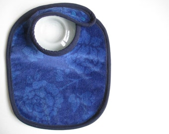 EcoBib--Adjustable Snap Closure--Modern Super Subtle Florals on Deep Blue--Ready to Ship