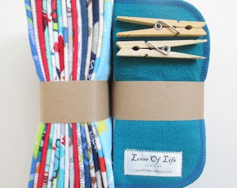 Reusable Cloth Wipes Pack of 32--Assorted Boys Mix--2 Ply Flannel--Regular--Made to Order