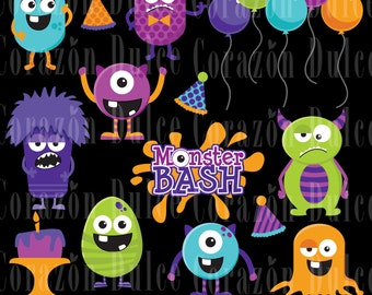 Monster party clipart set and digital papers -Personal and Commercial Use -INSTANT DOWNLOAD -