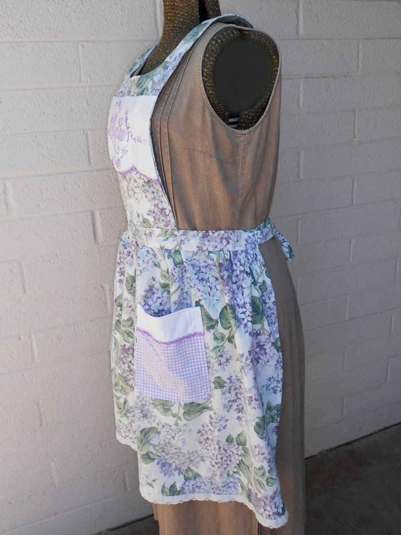Mother Purple Floral Apron with Embroidered and Crocheted Detail