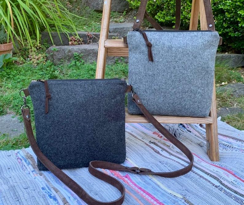 Charcoal Grey Crossbody Messenger Purse  Pendleton Wool Brown Leather  Rosebud Originals