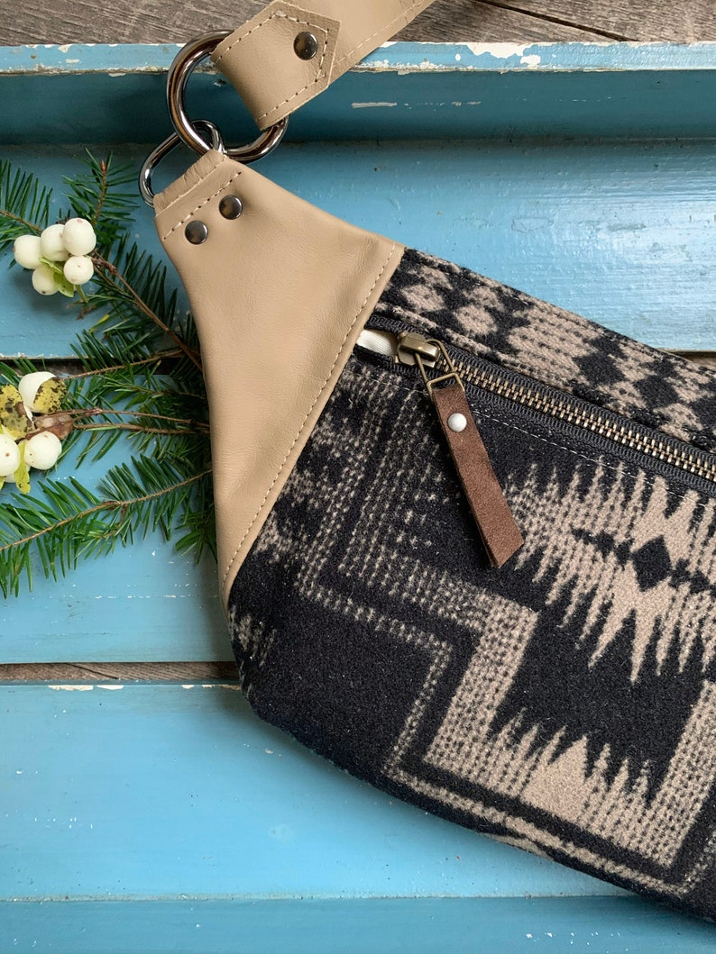 Fanny Pack Hip Bag Southwestern Black Harding Wool Tan Leather Rosebud Originals
