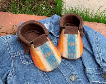 Scout Baby Moccasin 12-24 month // Southwestern Wool Brown Chap Leather // Rosebud Originals