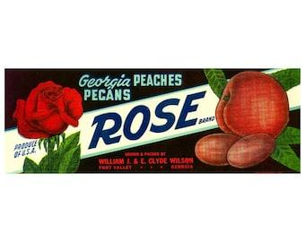 Rose Brand Georgia Peaches & Pecans Crate Label