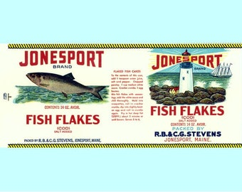 2 Jonesport Fish Flakes Maine Labels