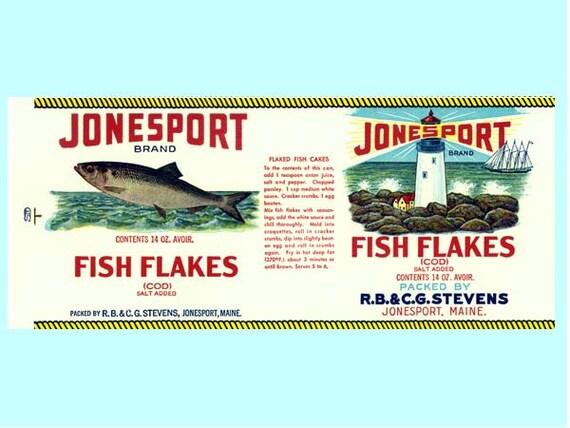 2 Jonesport Fish Flakes Maine Labels Etsy