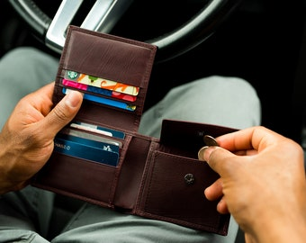 Pocket wallet leather - Wine leather wallet - Mens wallet engraved - Personalized wallet leather - Burgundy wallet - Wallet with coin pocket