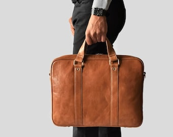 ef9bb8b3bb1c Mens leather briefcase - Leather briefcase men - Mens briefcase bag -  Travel briefcase - Leather messenger bag - Laptop messenger bag