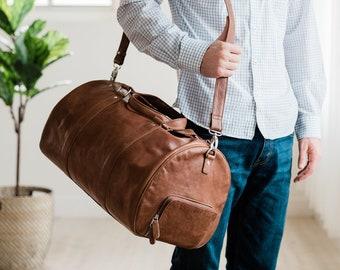 Weekender bag leather - Leather travel bag - Leather duffel bag - Leather overnight bag - Large travel bag - Weekend bag - Brown duffel bag