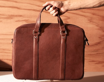 Leather briefcase men - Mens travel briefcase - Leather laptop bag men - Black leather briefcase - Leather weekender - Laptop briefcase men