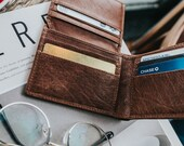 Slim card wallet men - Personalized leather wallet - Mens wallet bifold - Brown leather wallet - Monogram initials wallet - Gift for dad