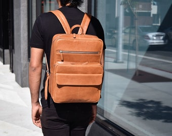 Leather laptop backpack - Brown leather backpack with pockets - 15 inch laptop backpack - Office backpack women - Men's MacBook backpack