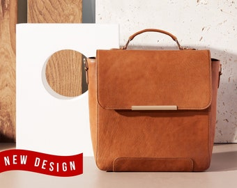 Mini backpack leather - Personalized small backpack - Convertible backpack to shoulder bag - Small backpack purse - Full grain leather bag