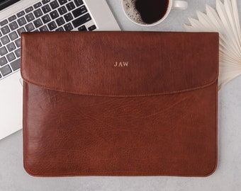 Laptop Sleeve for MacBook Pro / Air 13 / 15 / 16 inch - Leather laptop cover - Envelope sleeve  - Personalized - Monogrammed - Laptop folio