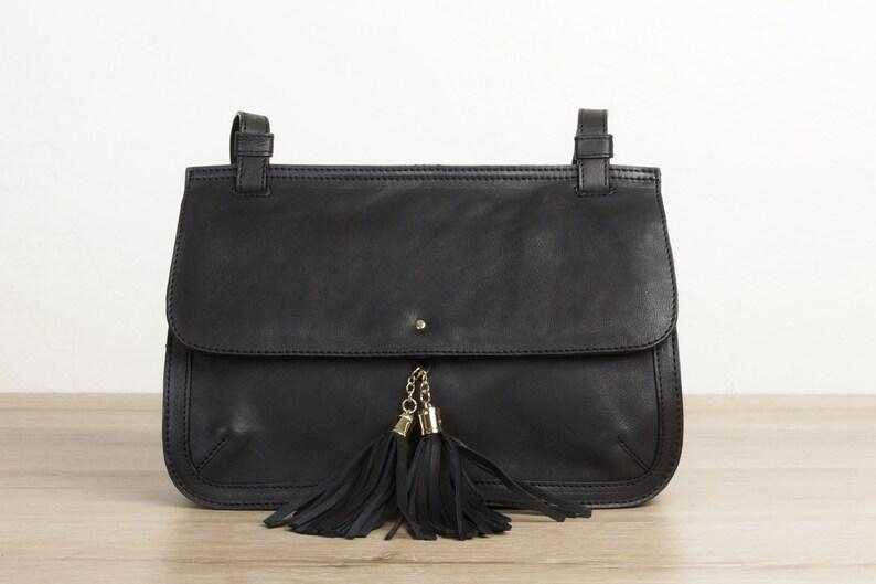 c23bb7bc15 Black leather shoulder bag with tassels shoulder purse women