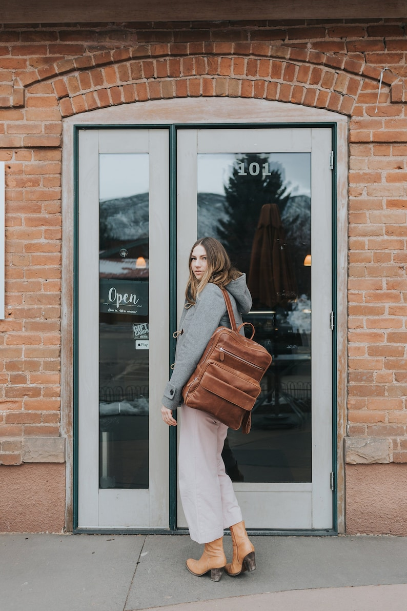 d75d1c4c3a6 Coffee brown leather backpack Laptop backpack Macbook 15